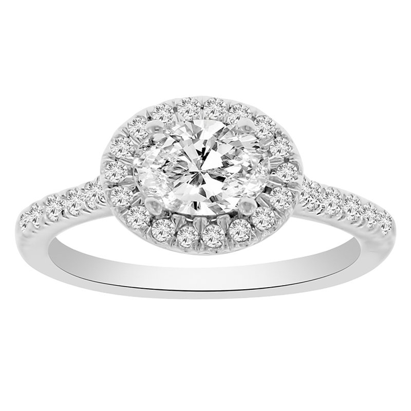 1ct tw Diamond East-West Engagement Ring in 14K White Gold