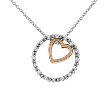 1/10ct tw NewBorn Lab Created Diamond Circle of Love Necklace in Sterling Silver and 10K Rose Gold