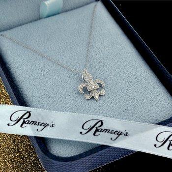 1/5ct tw Diamond Fleur De Lis Necklace in 10K White Gold