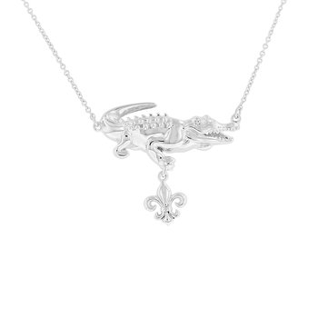 .005ct tw Diamond Nola Collection Alligator & Fleur De Lis Necklace in Sterling Silver