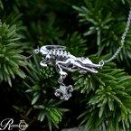 .005ct tw Diamond Nola Collection Alligator & Fleur De Lis Necklace in Sterling Silver