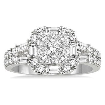 1 1/2 ct tw Diamond Thousand Points of Light Engagement Ring in 14K White Gold