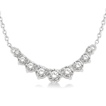 1/2ct tw Diamond Graduated Bar Necklace in 14K White Gold