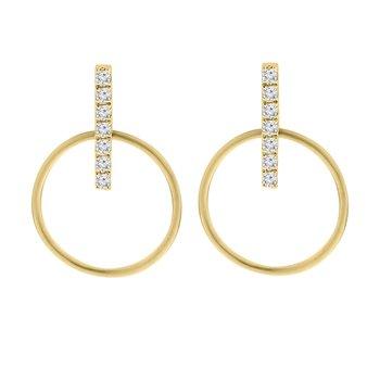 1/8ct tw Diamond Circle Fashion Earrings in 14K Yellow Gold