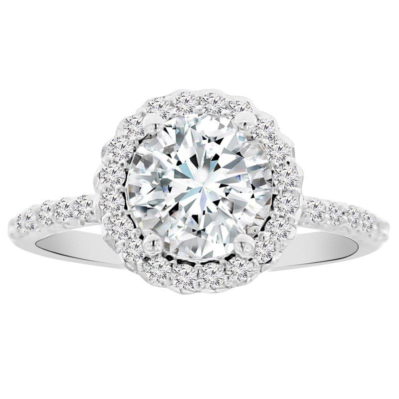 2 1/8ct tw NewBorn Lab Created Diamond Halo Engagement Ring Setting in 14K White Gold