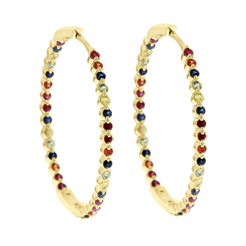 2ct tw Rainbow Ruby & Sapphire Hoop Earrings in 14K Yellow Gold