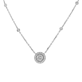1 1/8ct tw Diamond Halo Necklace in 14K White Gold