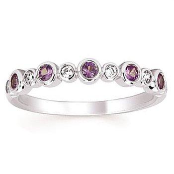1/10ct tw Diamond & Created Alexandrite June Birthstone Ring in 14K White Gold