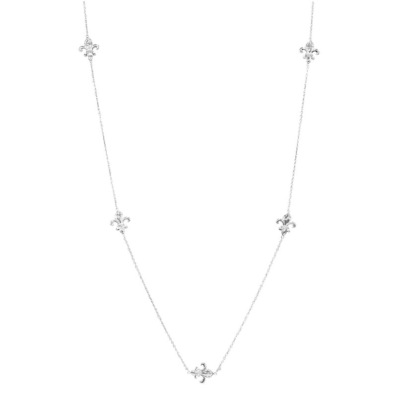 1/5ct tw Diamond Nola Collection Fleur De Lis Necklace in Sterling Silver