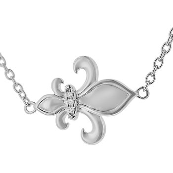 1/5ct tw Diamond Nola Collection Fleur De Lis Necklace in Sterling Silver