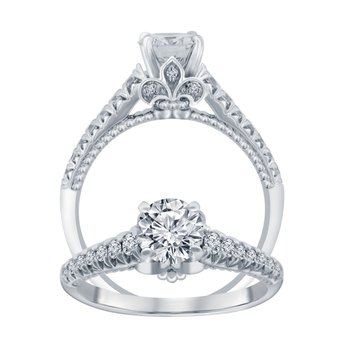 1 1/4ct tw NewBorn Lab Created Diamond Fleur De Lis Engagement Ring in 14K White Gold