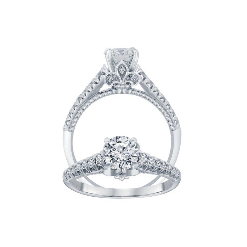 1 1/4ct tw NewBorn Lab Created Diamond Fleur De Lis Engagement Ring in 14K White Gold