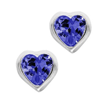 September Birthstone Heart Earrings in Sterling Silver