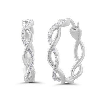 1/8ct tw Diamond Hoop Earrings in 10K White Gold