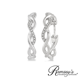 1/8ct tw Diamond Hoop Earrings in 10K White Gold