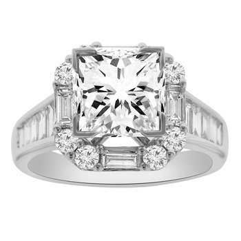 3 1/4ct tw Diamond Halo Engagement Ring in 18K White Gold