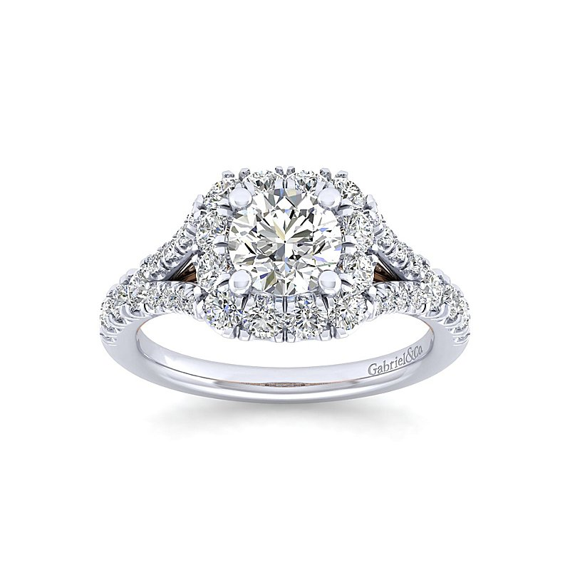 2ct tw Diamond Halo Engagement Ring in 14K White & Rose Gold