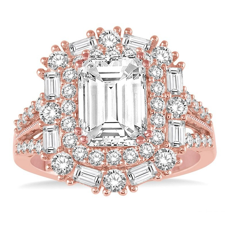 1 3/8ct tw Diamond Halo Engagement Ring Setting in 14K Rose Gold