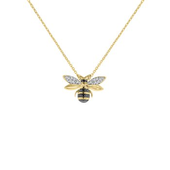 .03ct tw Diamond Garden District Collection Bee Necklace in 10K Yellow Gold & Black Rhodium