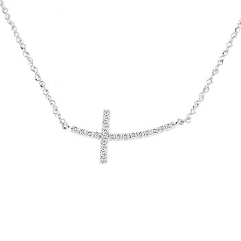 1/5ct tw Diamond Sideways Cross Necklace in 14K White Gold
