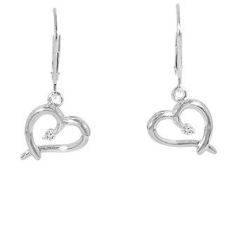 .06ct tw Diamond Heart Earrings in Sterling Silver