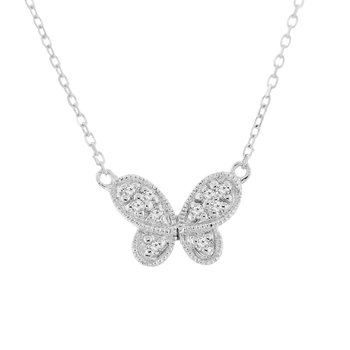 .05ct tw Diamond Butterfly Necklace in 14K White Gold