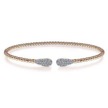 1/4ct tw Diamond Bujukan Bangle Bracelet in 14K Rose Gold