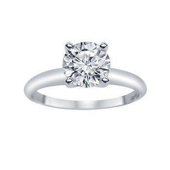 1ct Diamond Solitaire Engagement Ring in 14K White Gold