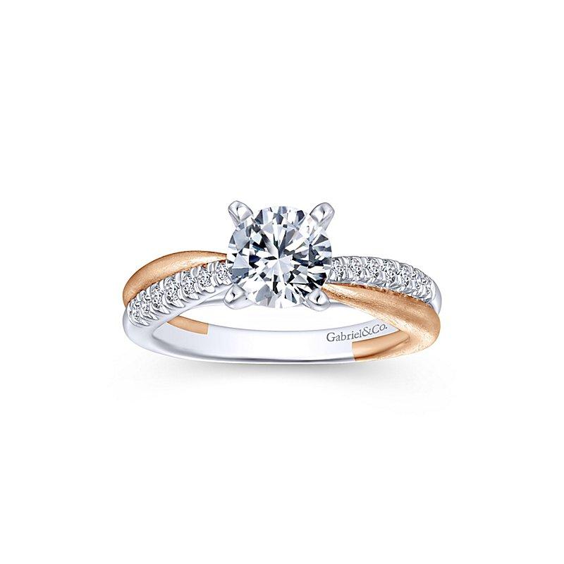 1 1/8ct tw Diamond Engagement Ring in 14K White & Rose Gold
