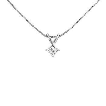 1/8ct tw Diamond Solitaire Necklace in 14K White Gold