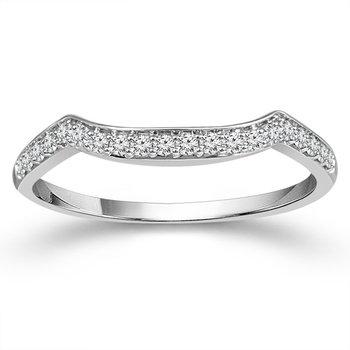 1/8ct tw Diamond Wedding Ring in 10K White Gold