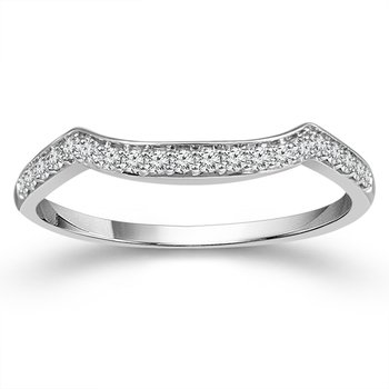 1/8ct tw Diamond Wedding Ring in 10K White Gold
