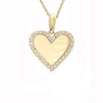 1/10ct tw Diamond Engravable Heart Necklace in 14K Yellow Gold