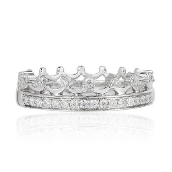 1/5ct tw Diamond Princess Crown Ring in Sterling Silver
