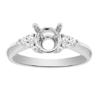 1/4ct tw Diamond Engagement Ring Setting in Platinum