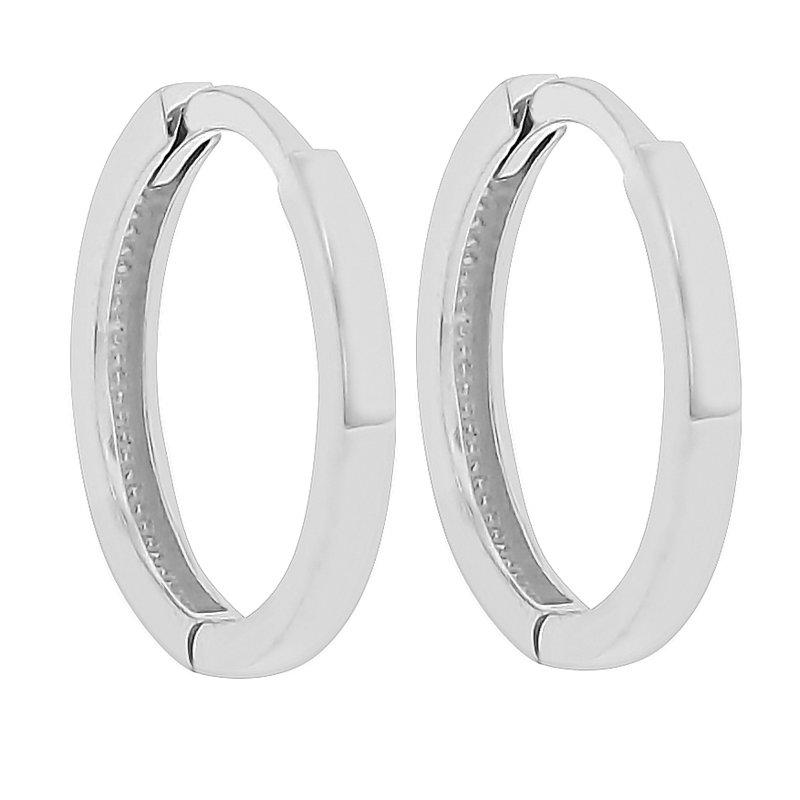 12mm Huggie Hoop Earrings in 14K White Gold