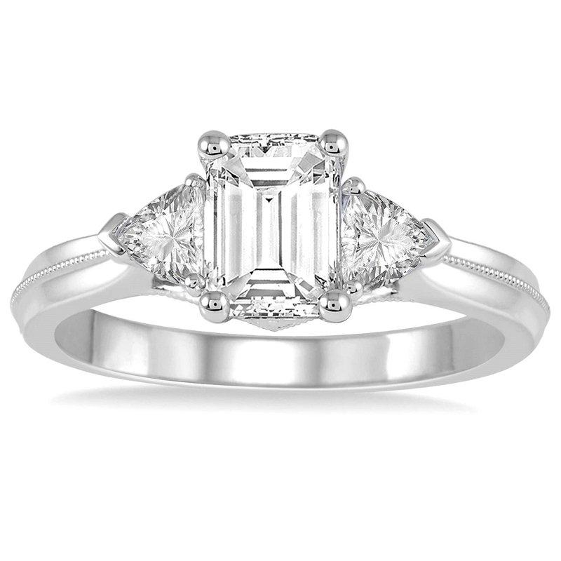 1/3ct tw Diamond Three Stone Engagement Ring Setting in 14K White Gold
