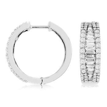 1 1/4ct tw Diamond Hoop Earrings in 14K White Gold