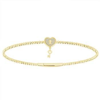 1/10ct tw Diamond Flexi Collection Bangle Bracelet in 14K Yellow Gold