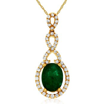 1/4ct tw Diamond & Emerald Halo Pendant in 14K Yellow Gold