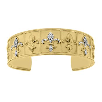 1/4ct tw Diamond 8 Inch Nola Collection Fleur De Lis Cuff Bracelet in Sterling Silver & Yellow Gold Plating