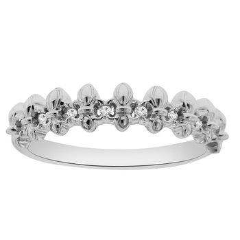 .05ct tw Diamond Fleur De Lis Anniversary Ring in 10K White Gold