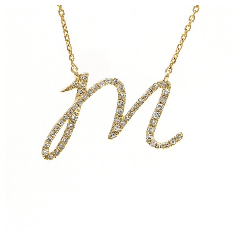 1/8ct tw Diamond Initial Necklace in 14K Yellow Gold