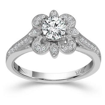 3/4ct tw NewBorn Lab Created Diamond Halo Engagement Ring in 14K White Gold