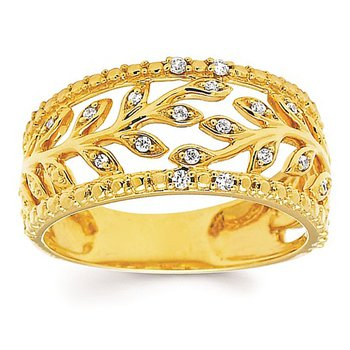 1/10ct tw Diamond Floral Fashion Ring in 14K Yellow Gold