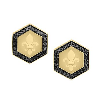 1/5ct tw Diamond Fleur De Lis Stud Earrings in 10K Yellow Gold