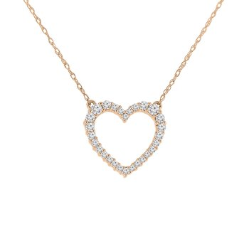 1/4ct tw Diamond Journey Heart Necklace in 10K Rose Gold