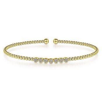 1/8ct tw Diamond Bujukan Bangle Bracelet in 14K Yellow Gold