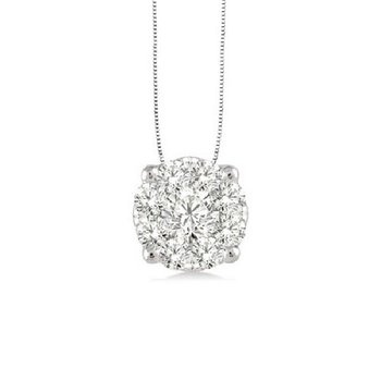 1/3ct tw Diamond Thousand Points of Light Solitaire Necklace in 14K White Gold