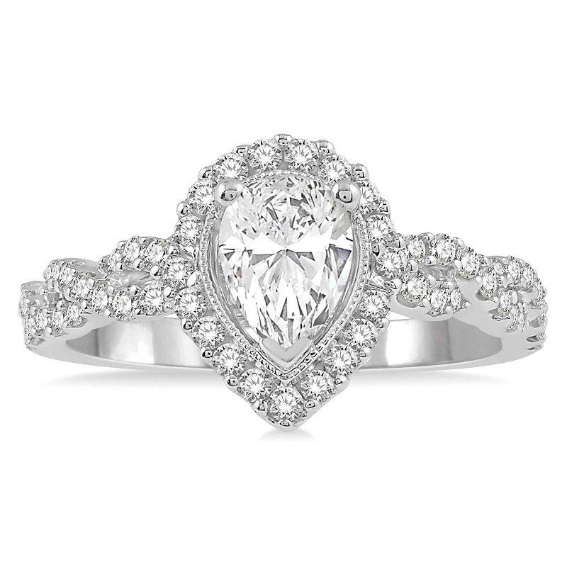 1 1/4ct tw NewBorn Lab Created Diamond Halo Engagement Ring in 14K White Gold
